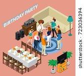 birthday party isometric... | Shutterstock .eps vector #723036394