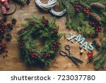 top view of christmas wreath of ... | Shutterstock . vector #723037780