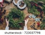 top view of florist hands... | Shutterstock . vector #723037798