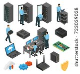 datacenter equipment isometric... | Shutterstock .eps vector #723039028