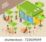 vegetarian cafe isometric... | Shutterstock .eps vector #723039049