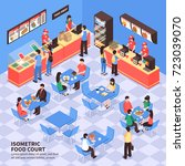 fast food court with visitors... | Shutterstock .eps vector #723039070
