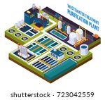 purification plant with water... | Shutterstock .eps vector #723042559