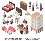isometric set with hotel... | Shutterstock .eps vector #723042604