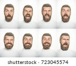 emotion set of bearded scared... | Shutterstock . vector #723045574