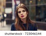 waist up portrait of beautiful...   Shutterstock . vector #723046144