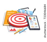 business plan document next to... | Shutterstock .eps vector #723046684