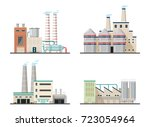 power plants with chimneys ... | Shutterstock .eps vector #723054964