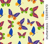 beautiful butterfly seamless... | Shutterstock .eps vector #723059470