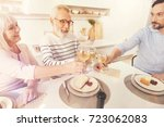 cheerful aged couple and his... | Shutterstock . vector #723062083
