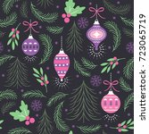 christmas seamless pattern | Shutterstock .eps vector #723065719