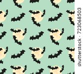 seamless pattern with bat  moon.... | Shutterstock .eps vector #723068503