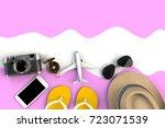 top view of traveler's... | Shutterstock . vector #723071539