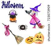 watercolor halloween set on... | Shutterstock . vector #723073909