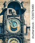 old astronomical clock in ... | Shutterstock . vector #723076480