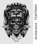 jaguar warrior | Shutterstock .eps vector #723078364