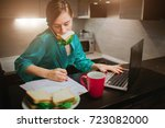 busy woman eating  drinking... | Shutterstock . vector #723082000