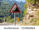 stone fall warning sign | Shutterstock . vector #723082864