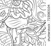 seamless mehndi vector pattern. ... | Shutterstock .eps vector #723083104
