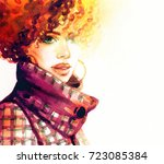 woman in coat. watercolor... | Shutterstock . vector #723085384