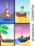 summer time boat vacation... | Shutterstock .eps vector #723089704