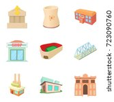 town building icons set.... | Shutterstock .eps vector #723090760