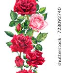Stock photo red roses flowers floral seamless border watercolor frame 723092740