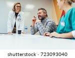 positive medical team...   Shutterstock . vector #723093040