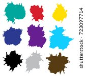 set color drops of paint and... | Shutterstock .eps vector #723097714