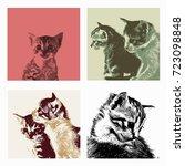 little cute cat. vector. set. | Shutterstock .eps vector #723098848