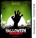 halloween background with... | Shutterstock . vector #723107428