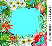 beautiful tropical palm leaves... | Shutterstock . vector #723118294