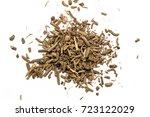 dry root of valerian on white... | Shutterstock . vector #723122029
