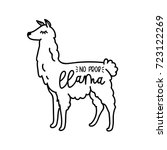 llama cute card with cartoon... | Shutterstock .eps vector #723122269