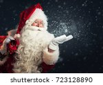 santa claus blowing magic snow... | Shutterstock . vector #723128890