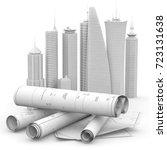 blueprints and cityscape model... | Shutterstock . vector #723131638