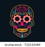day of the dead skull ... | Shutterstock .eps vector #723133489