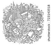 cartoon cute doodles hand drawn ...   Shutterstock .eps vector #723143518
