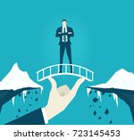 businessmen staying on the safe ... | Shutterstock .eps vector #723145453
