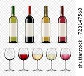 set of wine bottles and glasses