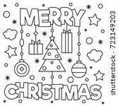 Merry Christmas. Coloring Page. ...