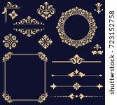 vintage vector set. floral... | Shutterstock .eps vector #723152758
