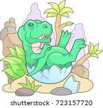 cartoon cute tyrannosaurus... | Shutterstock .eps vector #723157720