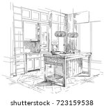 modern interior hand drawing... | Shutterstock .eps vector #723159538