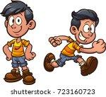 cute cartoon boy standing and...   Shutterstock .eps vector #723160723