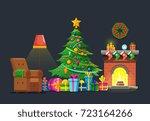 cartoon living room with xmas... | Shutterstock .eps vector #723164266