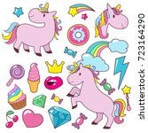 magic cute unicorns baby horses ... | Shutterstock .eps vector #723164290