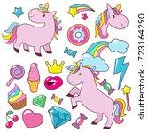 magic cute unicorns baby horses ...   Shutterstock .eps vector #723164290