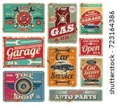 Stock vector vintage car service and gas station vector metal signs gas station for car metal grunge banner 723164386