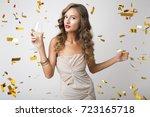 young beautiful blond stylish... | Shutterstock . vector #723165718
